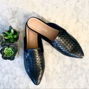 Shoes - Vegan Leather Crosshatch Mule Flats